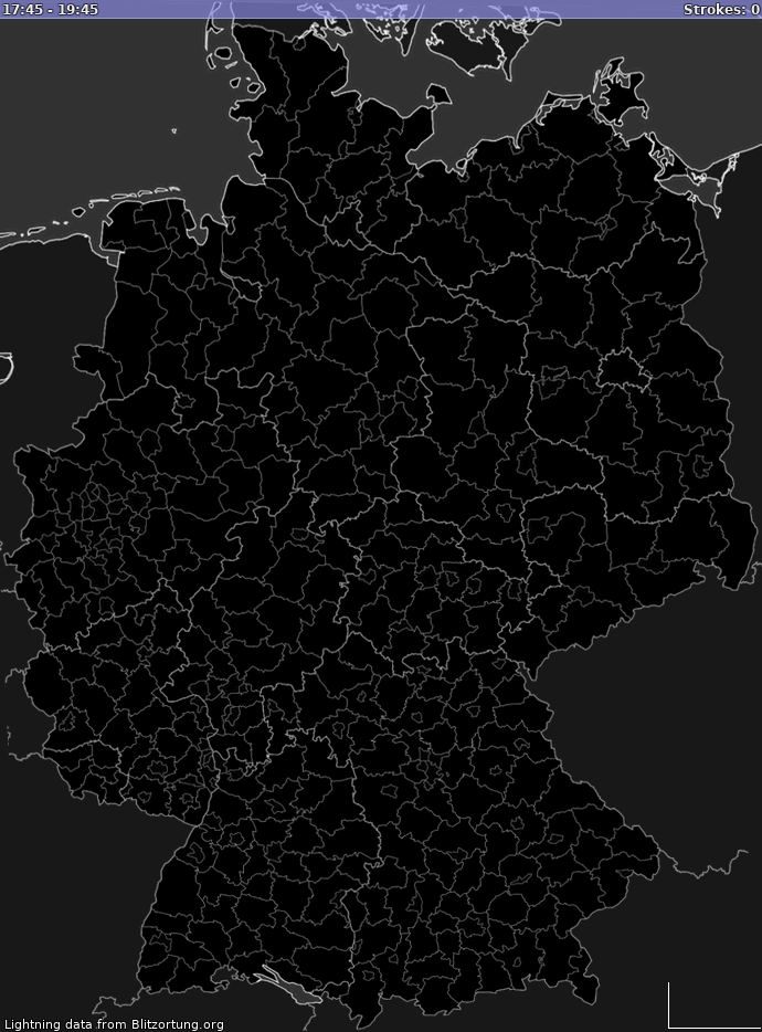 Lightning map Germany 2021-01-24 01:34:34